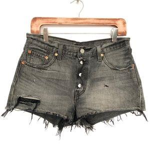 Levi's 501 Vintage Black Distressed Jean Shorts